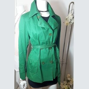 Green Double Breasted Trench/Rain Coat